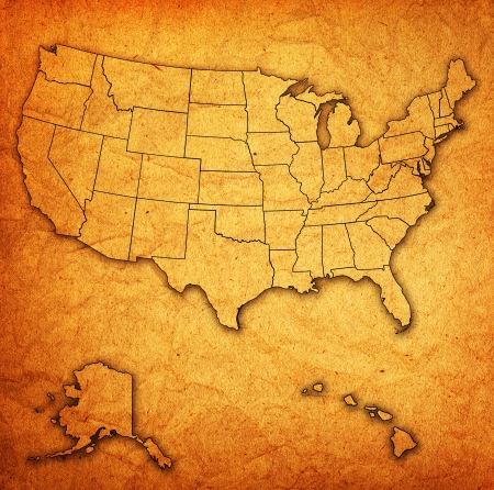 old vintage map of usa with state borders