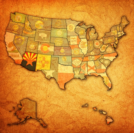 political division: arizona on old vintage map of usa with state borders