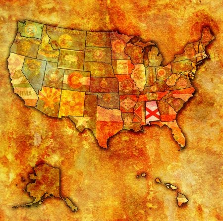 alabama flag: alabama on old vintage map of usa with state borders Stock Photo