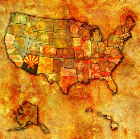 arizona on old vintage map of usa with state borders photo