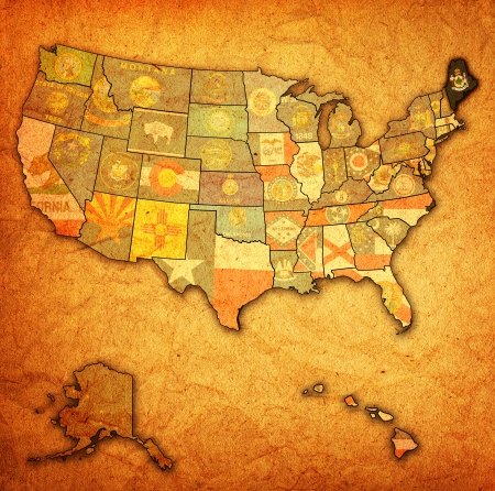 maine: maine on old vintage map of usa with state borders Stock Photo