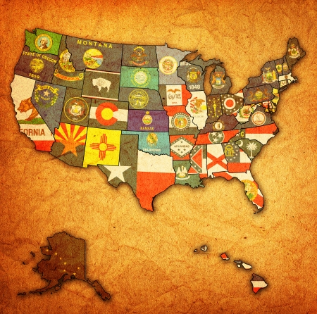 political division: state flags on old vintage map of usa with state borders Stock Photo