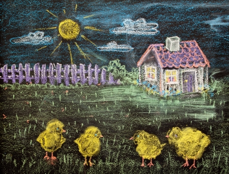 landscape with a house and small yellow chickens photo