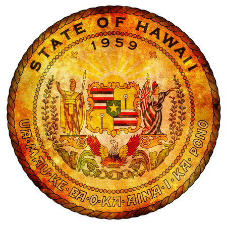 hawaii flag: old vintage isolated over white symbol of hawaii