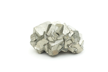 pyrite: detailed macro photo of pyrite mineral isolated over white