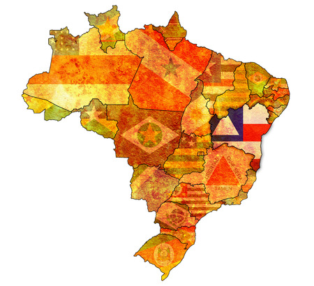 political division: bahia on admistration map of brazil with flags