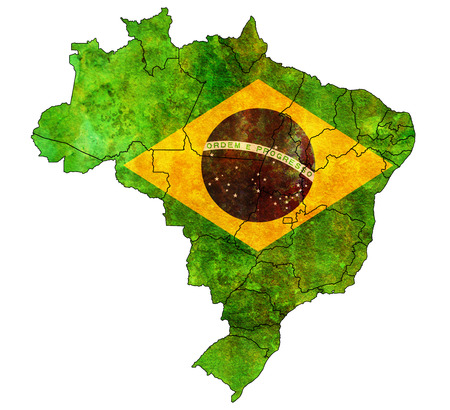 states and regions on admistration map of brazil with flags photo