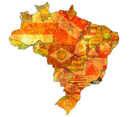 janeiro: rio de janeiro on admistration map of brazil with flags Stock Photo