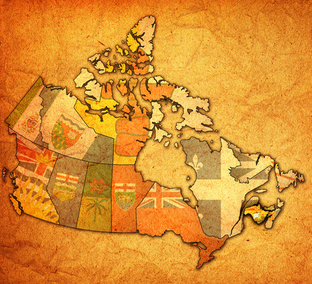 new brunswick on administration map of canada with flags photo