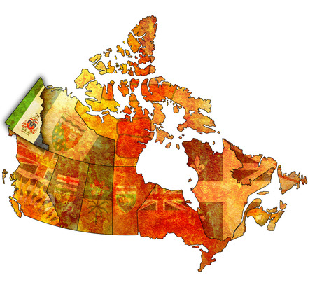 yukon: yukon on administration map of canada with flags Stock Photo