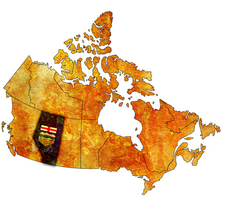 alberta: alberta on administration map of canada with flags Stock Photo