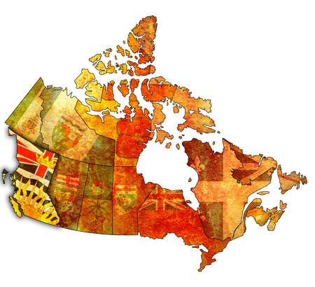 british columbia: british columbia on administration map of canada with flags