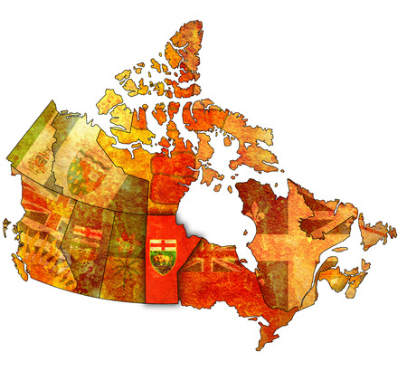 manitoba: manitoba on administration map of canada with flags