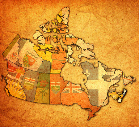 nova scotia on administration map of canada with flags photo