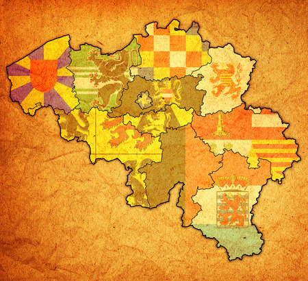 provinces on administration map of belgium with flags photo