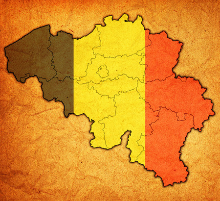 belgium flag on administration map with province borders photo