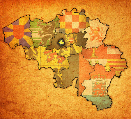 brussels on administration map of belgium with flags photo