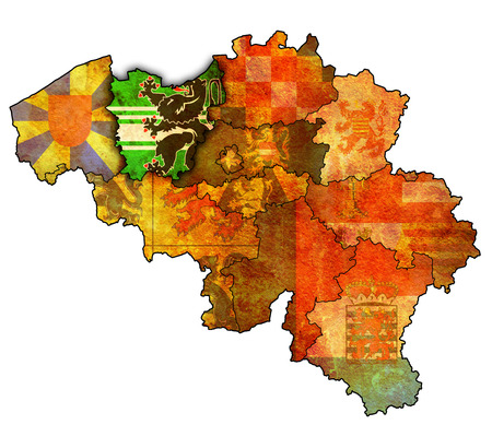 east flanders on administration map of belgium with flags