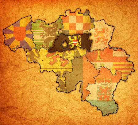 flemish brabant on administration map of belgium with flags Stock Photo