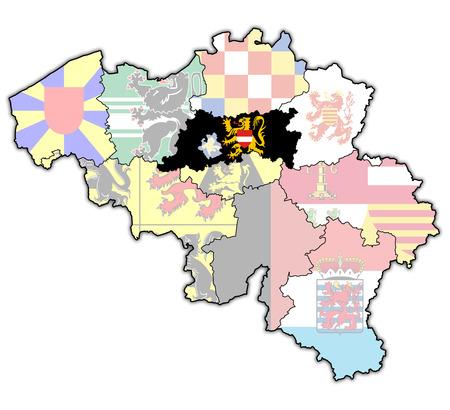 flemish region: flemish brabant on administration map of belgium with flags Stock Photo