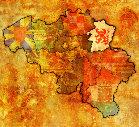limburg: limburg on administration map of belgium with flags Stock Photo