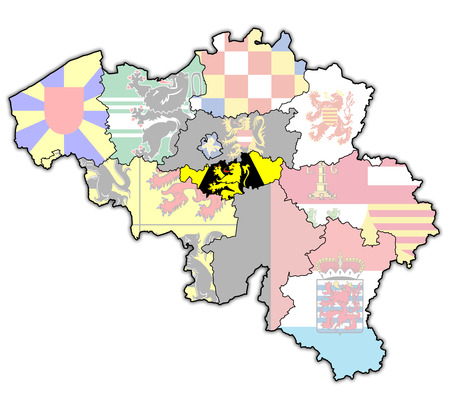 walloon: Walloon Brabant on administration map of belgium with flags