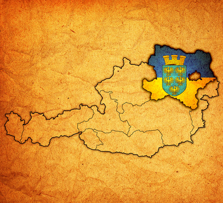 Lower Austria flag on map of austria with administrative divisions photo