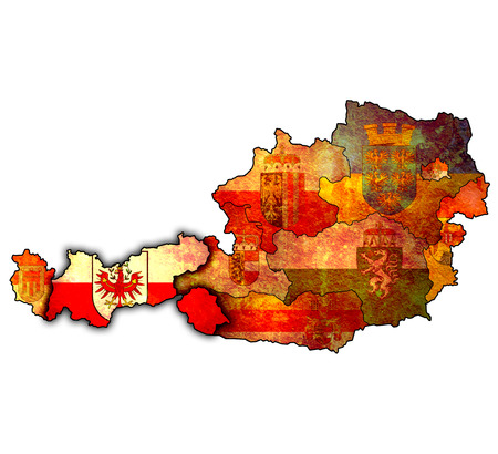 tirol: tirol flag on map of austria with administrative divisions