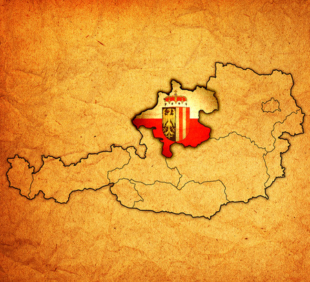 upper austria: Upper Austria flag on map of austria with administrative divisions Stock Photo