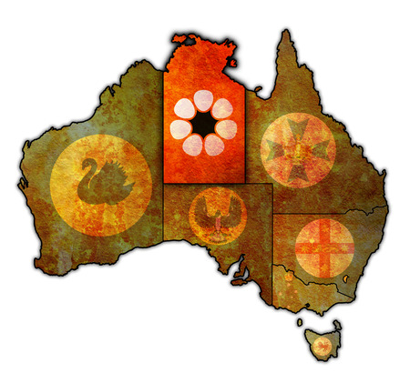 territory: northern territory flag on map of australia with administrative divisions