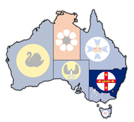 New South Wales Flag On Map Of Australia With Administrative Stock