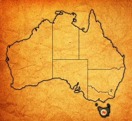 tasmania: tasmania flag on map of australia with administrative divisions