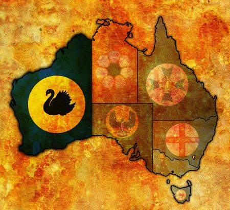 flag australia: western australia flag on map of australia with administrative divisions
