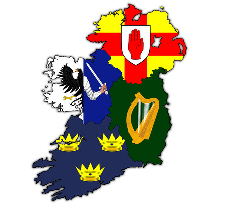 munster: borders and flags of provinces on map of ireland Stock Photo
