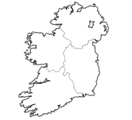 ireland flag: borders and territories of provinces on map of ireland