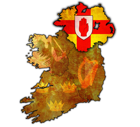 ulster: ulster with borders and flags of provinces on map of ireland Stock Photo