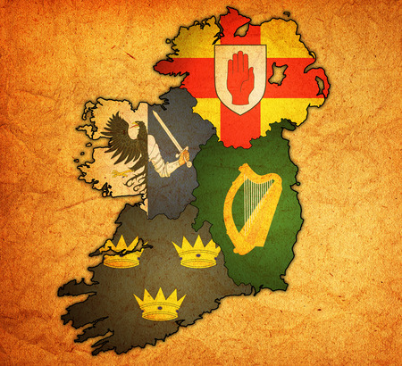 ulster: borders and flags of provinces on map of ireland Stock Photo