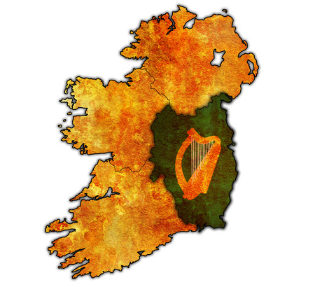 leinster: leinster with borders and flags of provinces on map of ireland