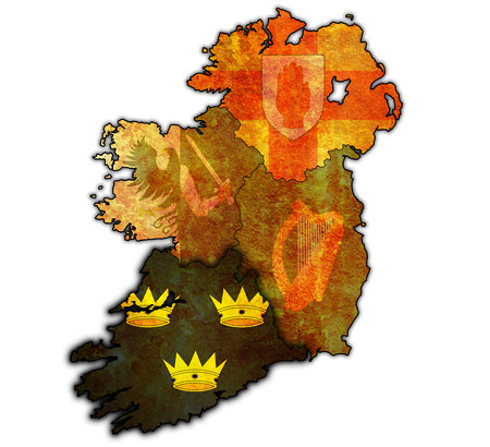 munster: munster with borders and flags of provinces on map of ireland Stock Photo