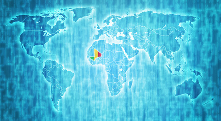 actual: Mali flag on blue digital world map with actual national borders Stock Photo