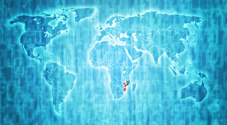 actual: Mozambique flag on blue digital world map with actual national borders