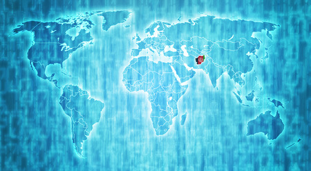 actual: afghanistan flag on blue digital world map with actual national borders Stock Photo