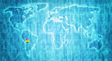 mapa de bolivia: bandera de Bolivia en azul mapa digital del mundo con fronteras nacionales reales Foto de archivo