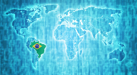 brazil flag on blue digital world map with actual national borders photo