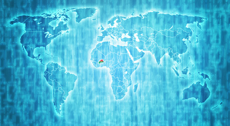 actual: burkina faso flag on blue digital world map with actual national borders Stock Photo