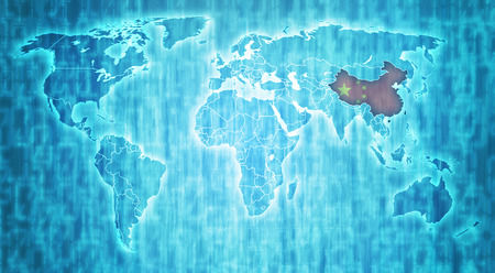 actual: china flag on blue digital world map with actual national borders