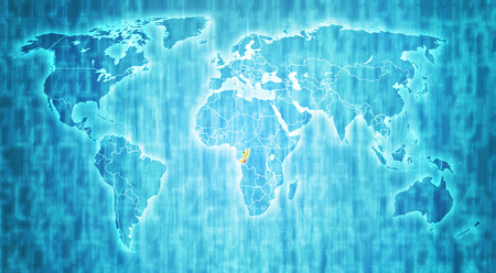 actual: congo flag on blue digital world map with actual national borders Stock Photo