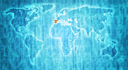 actual: spain flag on blue digital world map with actual national borders