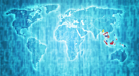 asean: ASEAN members flags on blue digital world map with actual national borders