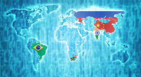 actual: BRICS countries flags on blue digital world map with actual national borders